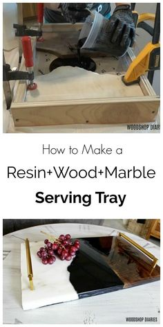 Wood + Marble + Resin DIY Serving Tray--{A Unique Tutorial} - DIY Resin Tray with wood and marble combo–Super fun mixed media DIY project with a deep pour epox - Diy Resin Tray, Diy Resin Table, Diy Resin Crafts, Stick Crafts, Wood Crafts, Epoxy Resin Wood, Diy Epoxy, Resin And Wood Diy, Diy Resin Furniture