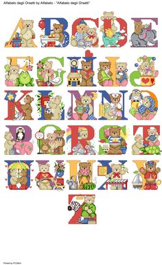 alfabeto degli orsetti Cross Stitch Alphabet Patterns, Alphabet Charts, Alphabet And Numbers, Character Letters, Alphabet Design, Cross Stitch Baby, Christmas Cross, Hand Embroidery, Needlework