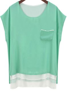 Green With Pocket Dip Hem Chiffon Blouse - abaday.com