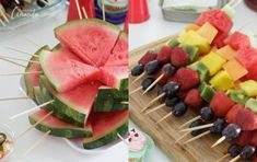 Barbecue bridal shower watermelon wedges on a stick and fruit kabobs Catering Food Displays, Fruit Displays, Healthy Toddler Meals, Toddler Food, I Do Bbq, Fruit Kabobs, Veggie Tray, Summer Fruit, Summer Treats