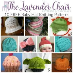 These baby hat knitting patterns are so cute for your new little one! Get the FREE knitting patterns right here at The Lavender Chair!