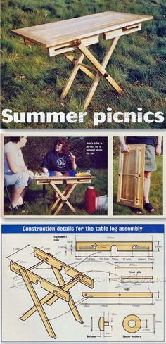 Folding Picnic Table Plans - Outdoor Furniture Plans and Projects - Woodwork, Woodworking, Woodworking Plans, Woodworking Projects Contemporary Outdoor Furniture, Outdoor Furniture Plans, Folding Furniture, Diy Furniture, Diy Wood Projects, Outdoor Projects, Folding Picnic Table Plans, Table Camping, Wood Plans