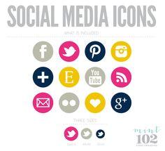 Modern Bold Colorful Social Media Icons. $6.50, via Etsy.