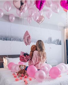 Image may contain: 1 person, indoor Birthday Goals, Cute Birthday Gift, 17th Birthday, Pink Birthday, Princess Birthday, Birthday Balloons, Birthday Girl Pictures, Birthday Photos, Birthday Room Decorations