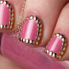 The Nailasaurus: Stud Up! Day 4: Pink(Stud)Wednesday  the golden inner glow of this pink compliments the gold of the studs so well.
