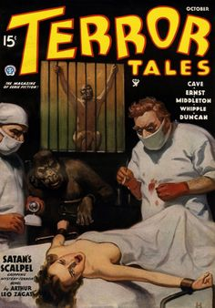 """""""AND THE WINNER IS As great as these horror pulp covers artists are, my favorite where this kind of creepy content is concerned, might be a guy whose work I have posted before: John Newton Howitt. The Earle Bergey of horror! Pulp Fiction Art, Horror Fiction, Pulp Art, Science Fiction, Pulp Magazine, Magazine Covers, Magazine Art, Horror Tale, Weird Science"""
