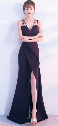 5504ce3be17 Affordable Beautiful Elegant Dark Blue Gown Bodycon Maxi Dress Long  Sleeveless With Side Slit