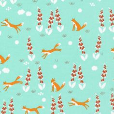 150703 Fox In the Foxgloves   Turquoise Quilter's Cotton from Foxglove by Aneela Hoey for Cloud9 Fabrics