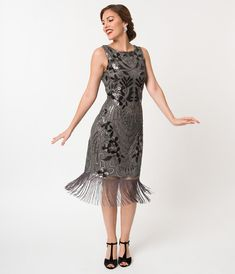 efc8afdbe8d Charcoal Grey Sequin Alix Fringe Flapper Dress. Fringe Flapper DressFlapper  DressesFlapper CostumeParty ...
