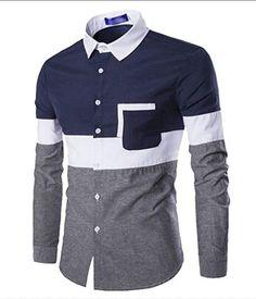 Long Sleeve Casual Panel Shirt - Cadetblue - - Men's Clothing Men's Tops & T-Shirts Men's Shirts # # Mens Shirts Sale, Cool Shirts For Men, Men's Shirts And Tops, Mens Designer Shirts, Men Shirts, Casual Shirts For Men, Shirt Men, African Clothing For Men, African Shirts