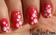 Nail Nerd (nail art for nerds) Get Nails, How To Do Nails, Hair And Nails, Long Nail Art, Trendy Nail Art, Polka Dot Nails, Pink Bubbles, Nail Envy, Nail Tech