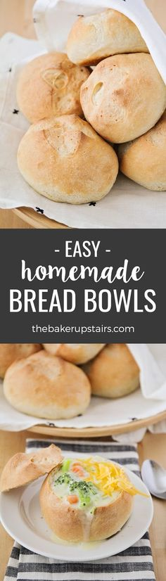 Homemade bread bowls are surprisingly easy to make, and so delicious. Perfect for soup night or for serving dips! | The Baker Upstairs
