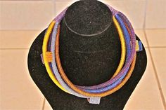 African Zulu Beaded Necklace - ROPE NECKLACE - gold/blue/copper/purple/gray by Hadeda on Etsy