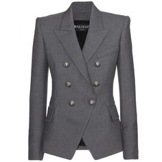 Balmain Structured Wool Blazer (2,175 CAD) ❤ liked on Polyvore featuring outerwear, jackets, blazers, balmain, coats & jackets, grey, blazer jacket, grey jacket, gray wool blazer and gray jacket