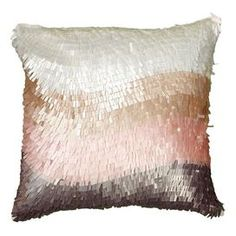 """Bring textured depth to your sofa, bed, or chaise with this stylish pillow, showcasing a color-blocked cover crafted of lustrous sequins.   Product: PillowConstruction Material: Cotton and sequin coverColor: Ivory and pinkFeatures:  Insert includedHidden zipperMade in India Dimensions: 18"""" x 18""""Cleaning and Care: Spot clean only"""