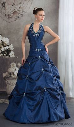 Custom Wedding Dresses Royal Blue Beaded Long Halter Pickups Open Back Wedding Dress in Taffeta #OPH1240 at GemGrace. View more special Wedding Dresses,Colored Wedding Dresses,Ball Gown Wedding Dresses now? #GemGrace To buy delicate gowns at affordable prices. Over 399 new styles added, shop now to get $20 off!