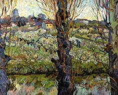 Vincent Van Gogh, (1853-1890) Frutteto in fiore con veduta di Arles (1888)