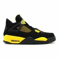 outlet store 88110 bd5f2 308497-008 Air Jordan 4 Retro Thunder Black White-Tour Yellow Retro Jordans,