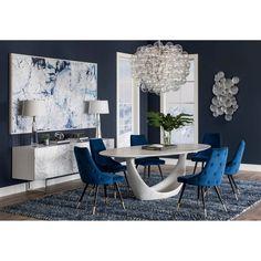 Dining Room Blue, Blue Living Room Decor, Dining Room Walls, Dining Room Design, Chandeliers For Dining Room, Navy Blue Dining Chairs, Navy Home Decor, Modern Dining Room Tables, Dining Sets