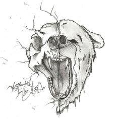 half #bear #sketch #sketchbook #pencil #skeleton #drawing #art #tattoo #halfface #openmouth #shadow #nonsense #none #2015