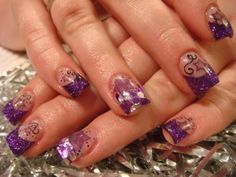 Funky Neon marbleized acrylic Nails with Bling | Nail Art Ideas