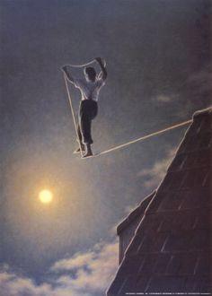 Giacomond [The Edge] (1984) ©Quint Buchholz, artist. Man, Tightrope, Roof, Night, Moon.