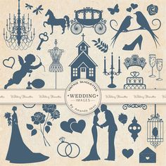 Premium Vintage Wedding Clipart for Scrapbooks by AmandaIlkov