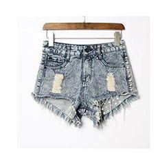 89d3c618e7 Jwhui Vintage Rivet High Waist Denim Shorts Women Tassel Ripped Loose Short  Jeans Punk Sexy Hot Summer Fashion Short Pant