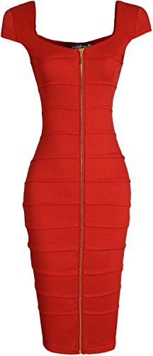 jeansian Women's Sexy O-Neck Front Zipper Gowns Pencil Dress Haute Couture Fashion, Pencil Dress, Going Out, Sexy Women, Church Clothes, Bodycon Dress, Glamour, Gowns, Zapatos