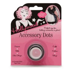 Just peel and press a Hollywood Accessory Dot wherever you need to secure an unruly piece of jewelry, shoe strap, cuff, collar, scarf, etc. – or use to affix a bit of bling! $6.00  from www.GoodtoBeYou.com