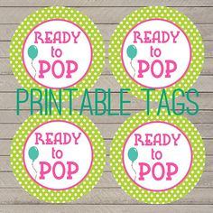 printable polka dot ready to pop baby shower tags, green and pink baby shower tags, balloon ready to pop tags