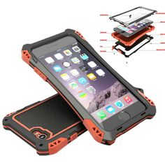 Brand Waterproof Shockproof Metal Aluminum Armor Hard Case For iPhone 5 5s SE 6 6s Plus Cover Phone Cases With Tempered Glass