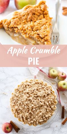 Apple Crumble Pie is made with a tender crust filled with juicy, spiced apples and topped with a delicious, buttery streusel. A perfect fall dessert! Easy Pie Recipes, Apple Pie Recipes, Pumpkin Recipes, Baking Recipes, Oats Recipes, Crumble Apple Pie Recipe Easy, Apple Walnut Pie Recipe, Carmel Apple Pie Recipe, Crumble Crust Recipe