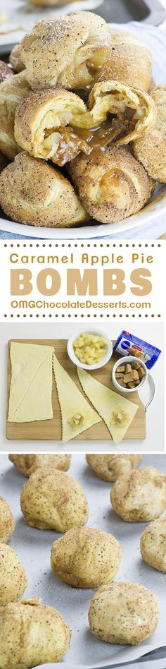 caramel apples These awesome Caramel Apple Pie Bombs are the easiest dessert recipe (or at least apple pie recipe) youve ever made, and they are insanely GOOD! Brownie Desserts, Easy Desserts, Delicious Desserts, Dessert Recipes, Yummy Food, Chocolate Desserts, Desserts Caramel, Baking Desserts, Cheap Chocolate