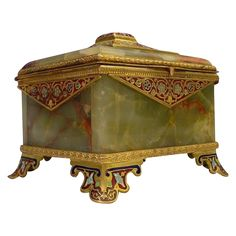 Exquisite Antique French Champleve Green Onyx Casket Hinged Box