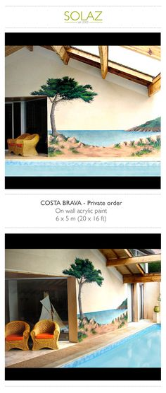 COSTA BRAVA - Private order by Helene Bataille, via Behance -  www.designbysolaz.com #drawing #illustration #painting #paint #mural #wallpainting #sea #spain #bahia #costabrava #landscape #swimmingpool #handwork