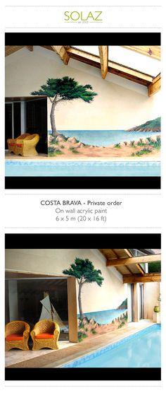 COSTA BRAVA - Private order by Helene Bataille, via Behance -  www.designbysolaz.com #drawing #illustration #painting #paint #mural #wallpainting #sea #spain #bahia #costabrava #landscape #swimmingpool #handwork
