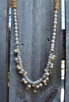 Aquamarine and Fresh Water Pearl Saucer Necklace  on-a-string.com