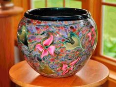 Cypriot Bowl with Pink Multi- Flora Decor by Lotton Art Glass. American Made. See the designer's work at the 2015 American Made Show, Washington DC. January 16-19, 2015. americanmadeshow.com #glass, #artglass, #bowl, #flowers, #americanmade