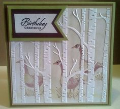handmade card: Wetlands geese in hiding by Susan Hurley-Luke (Australia) ... inking the background with the birch tree embossing folder ... Stampin' Up!