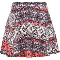 River Island Red aztec puff print skater skirt ($13) ❤ liked on Polyvore featuring skirts, sale, patterned skater skirt, circle skirt, red circle skirt, red knee length skirt and puffy skirts