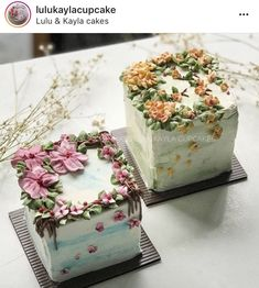 Flower cake - square cakes gives it a different look Gorgeous Cakes, Pretty Cakes, Amazing Cakes, Fancy Cakes, Mini Cakes, Cupcake Cakes, Buttercream Flower Cake, Cake Decorating Techniques, Decorating Ideas