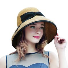 2017 Nuevo Verano Mujeres Sun de la Paja Sombrero de Ala Ancha Playa  Elegante Cap Para. Sombreros ... a3e2fa315334