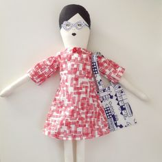 Mikodesign doll with dress made with Tas-Ka fabric