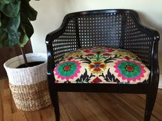 Cane Barrel Chairs by vintagevesty on Etsy. Cane barrel chairs that have been redone The chairs are different. Excellent condition and very sturdy. Waverly fabric on the seats. Price is for the pair.