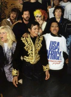 """Michael Jackson getting all the celebrities together to perform """"we are the world"""" He had a genuine heart of gold and love! - Amazing that I just saw Cyndi Lauper in concert a few months ago and she mentioned how much she loved being included in this :)"""