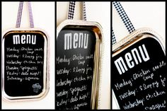 what a great idea. see so many old silver trays at thrift shops and it would make a good shopping board. my next project! Magnetic Chalkboard, Chalkboard Signs, Chalkboard Paint, Chalkboards, Silver Platters, Silver Trays, Crafts To Make, Easy Crafts, Chicken Menu