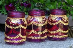 hand-made henna mason jars, letters, candles, & more! by HennaArtDiaries Mini Mason Jars, Mason Jar Crafts, Bottle Painting, Dot Painting, Mason Jar Lanterns, Henna Style, Hanging Candles, Idee Diy, Bridal Shower Decorations