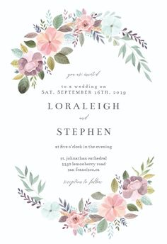 Soft Floral – Wedding Invitation Template (free - Wedding World Free Printable Wedding Invitations, Country Wedding Invitations, Baby Shower Invitation Templates, Engagement Party Invitations, Diy Invitations, Floral Wedding Invitations, Wedding Invitations Online, Make Your Own Invitations, Wedding Stationery