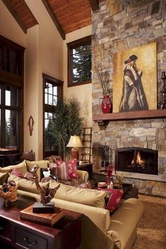 Not my choice of Décor, But love the high ceilings and fire place,
